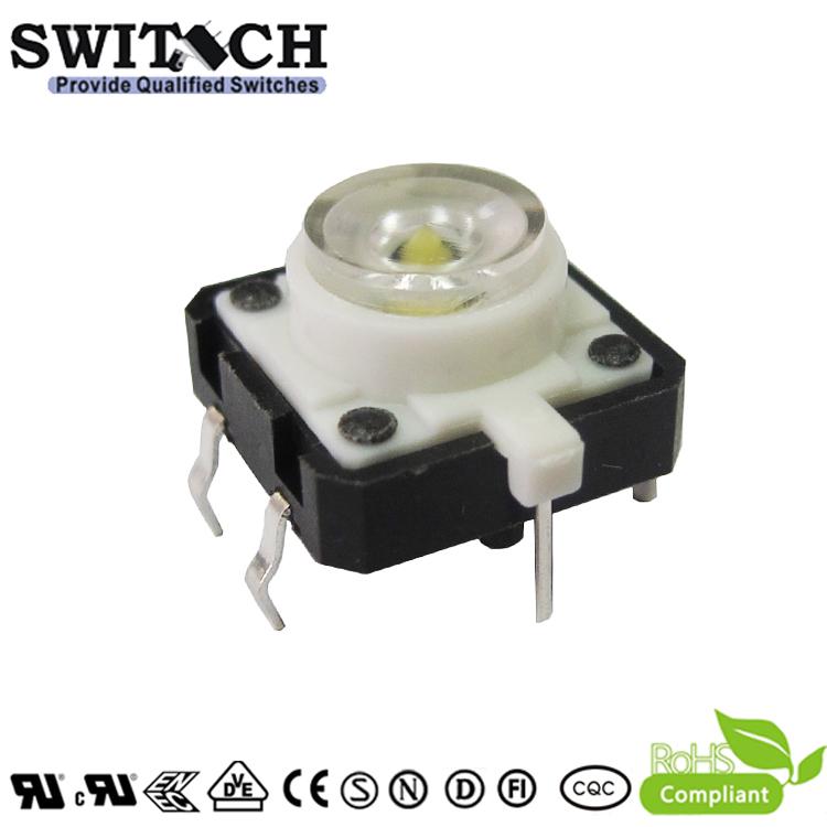 TS12I-072C-W 12x12mm Illuminated White LED Light Tact Switch with RoHS