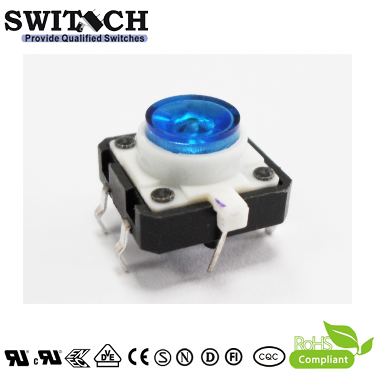 TS12I-072C-U 12x12mm Illuminated Blue LED Tact Switch with RoHS