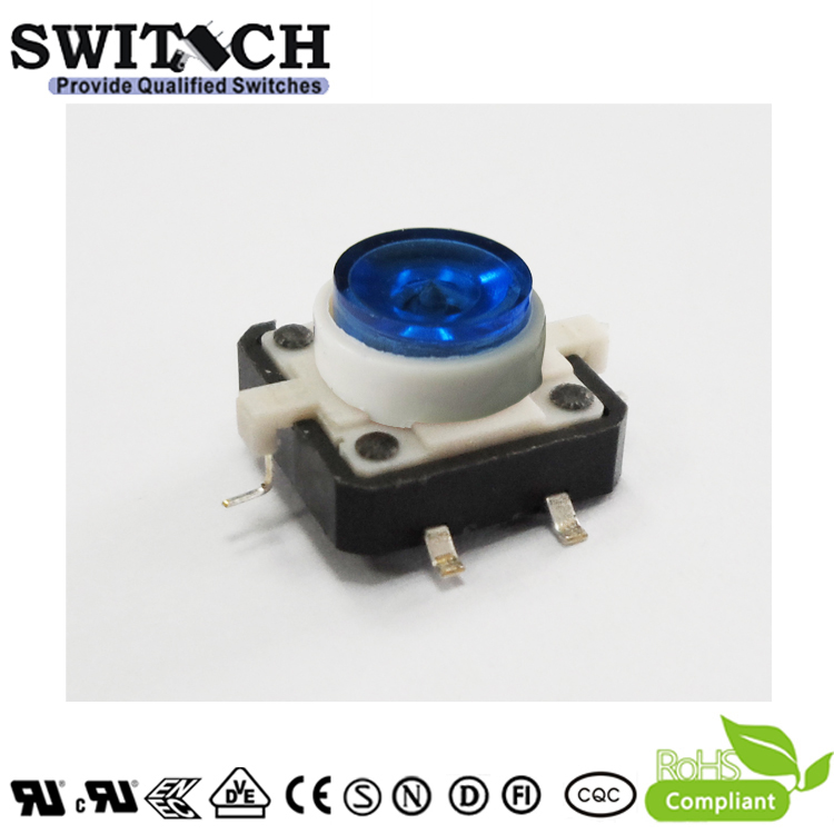 TS12I-072C-U-G15.3 12x12mm SMD Blue LED Pushbutton Switch