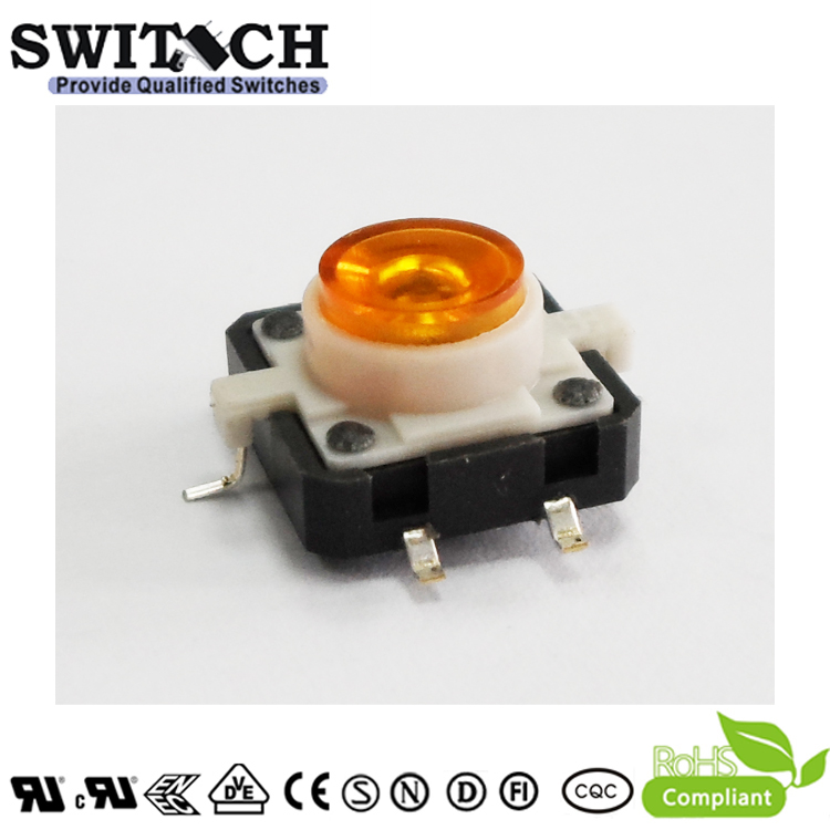 TS12I-072C-Y-G15.3 12x12mm SMD Yellow LED Tactile Switch