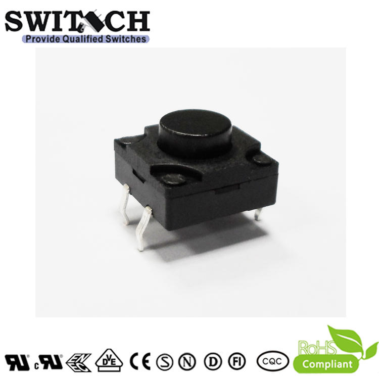 TS12W-075C waterproof tact switch with light force, 12X12mm, height is 7.5mm, DC 12v and smd, 4 pins mini  rohs waterproof tact switch