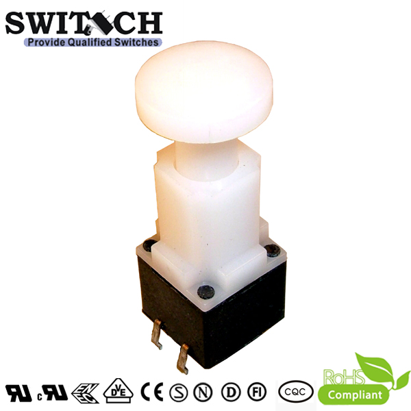 TS12W-337C 4 pins tact switch with round button, 12X12mm, height is 33.7mm, waterproof tact switch, push button tactile switch