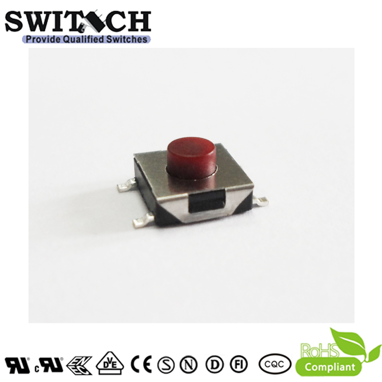 TS2A-037C-G8.4 4 Pins 3.7mm Tactile Switch with Red Button