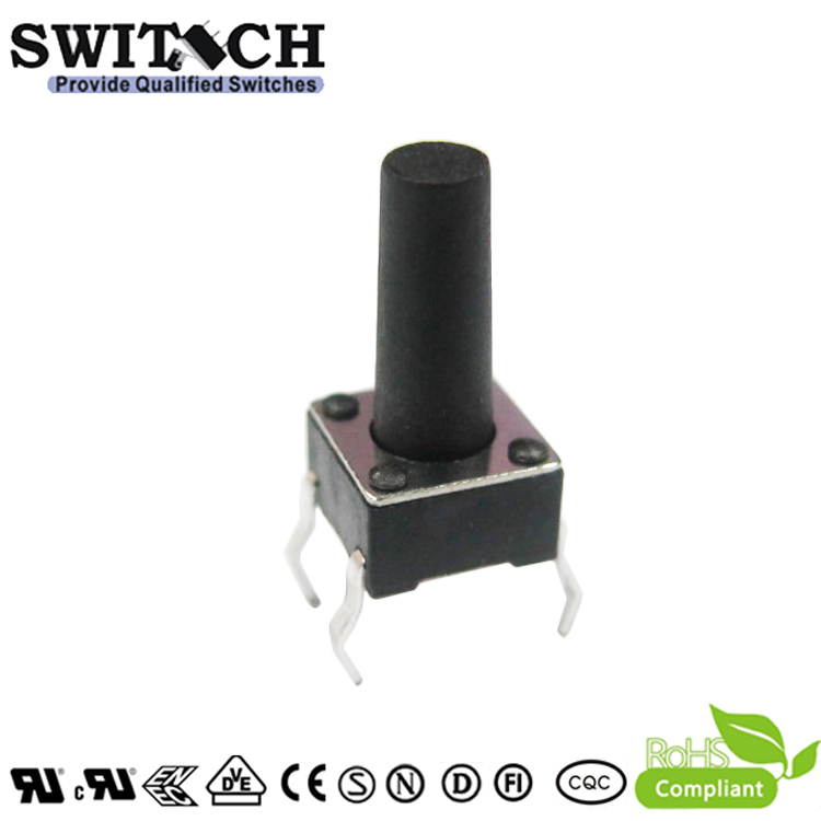 TS2A-120C 6x6mm tact switch with 12mm height black button tact switch