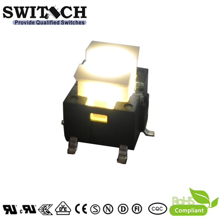 TS2I-072C-G9-P SMD illuminated tactile switch with white or green led