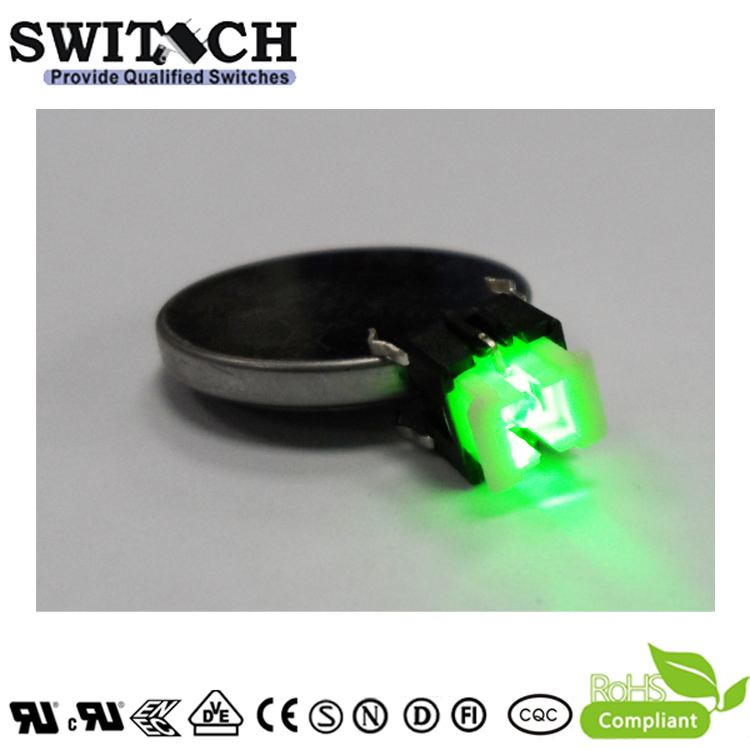 TS2I-072C-G 7.2mm Height Green Illuminated Tact Switch with LED