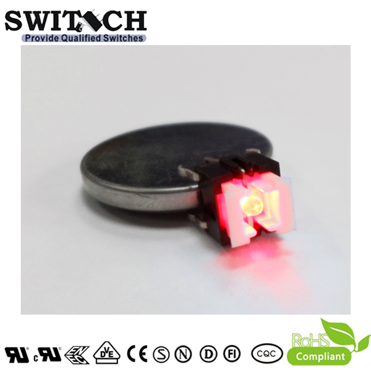 TS2I-072C-R 6x6mm illuminated Red LED Momentary Switch with Reach