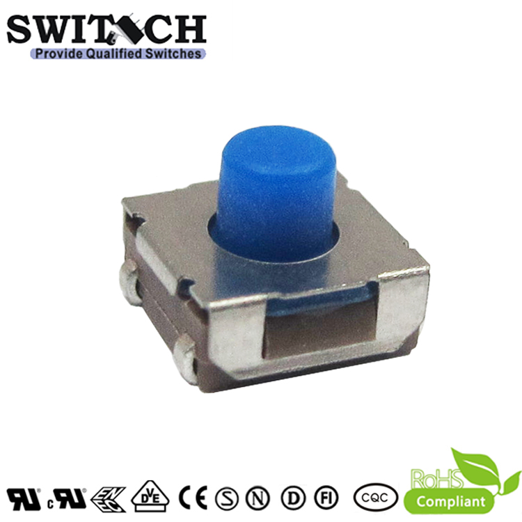 TS2W-052C-J6.8-RS 5.2mm waterproof IP67 tact switch with Blue rubber button