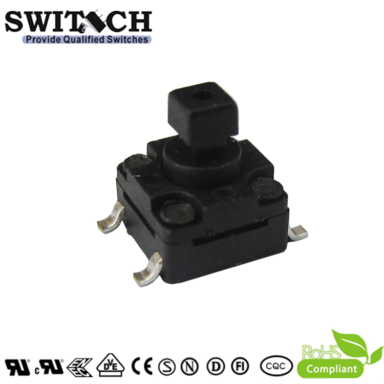 TS2W-073C(S)-G8.6 6×6mm 7.3mm height waterproof tact switch with square button for alarm