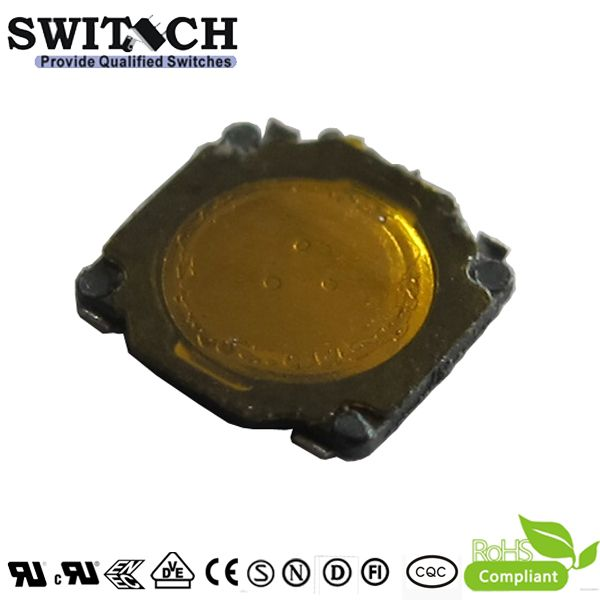 TS37A-0035B-G SMT tact switch used for earphone, 3.7X3.7mm, height is 0.35mm, on-off switch, DIP through hole SPST momentary tact switch