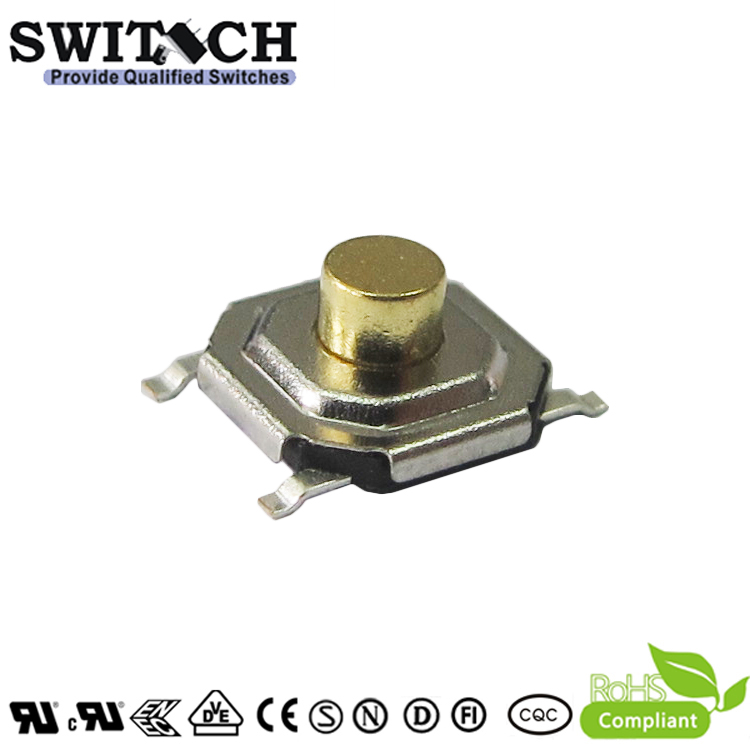 TS51A-025E-G6.4-65 5.1mm SMT IP65 tactile switch 2.5mm height tact switch with customized 500gf