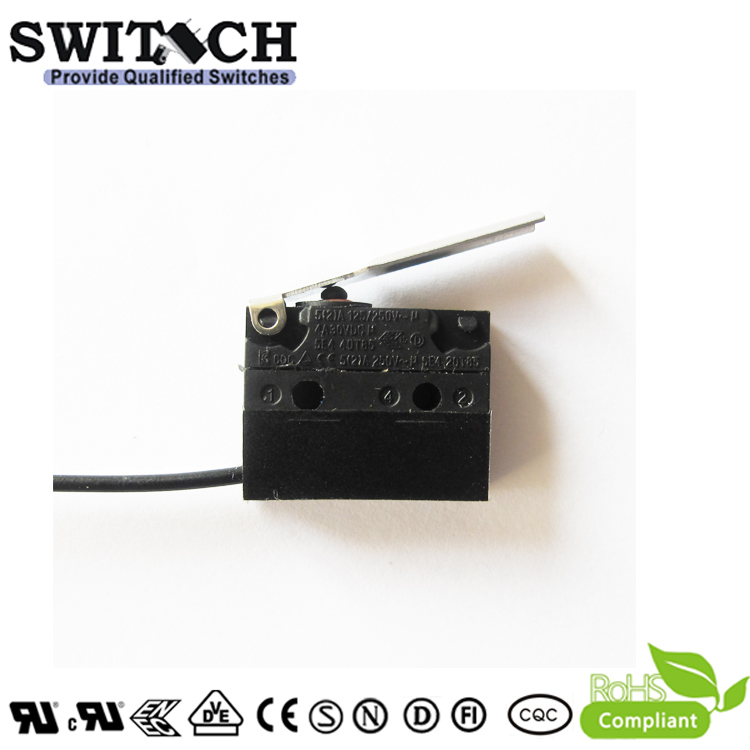 WS1-DSWG1-W150L080-02 Sealed Snap Action Switch Wire Type Arc Lever