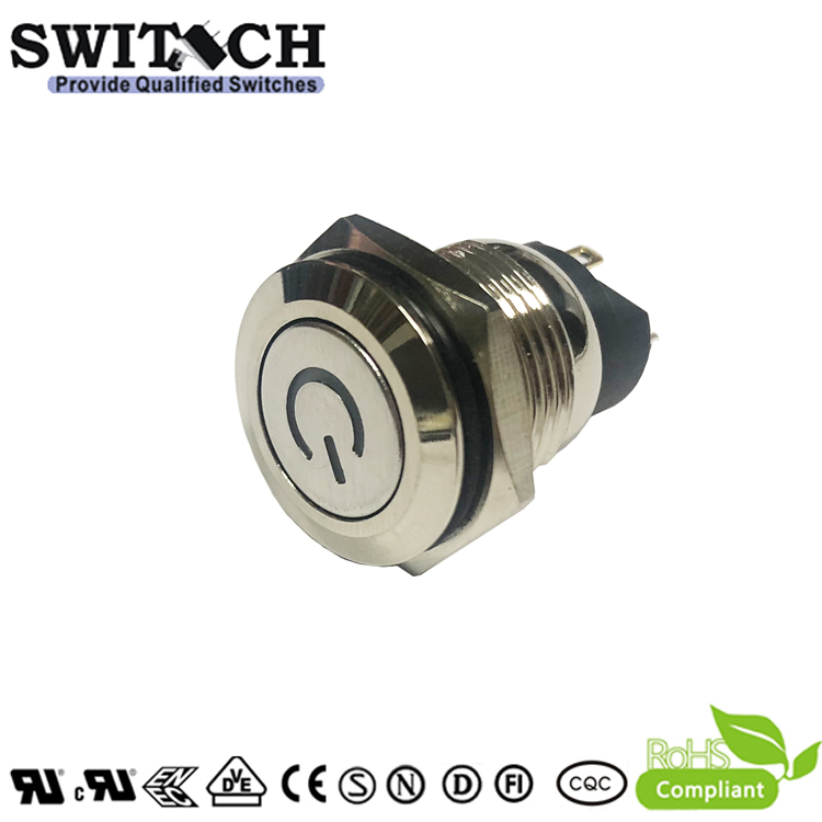 ZLQ16E2-SWP10F-DYB3V-N IP65 16mm waterproof blue LED pushbutton switch