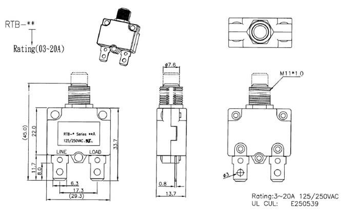 rtb-b ul cul spring return pushbutton switch 3a-20a  15a uff0c2 pins for power supply