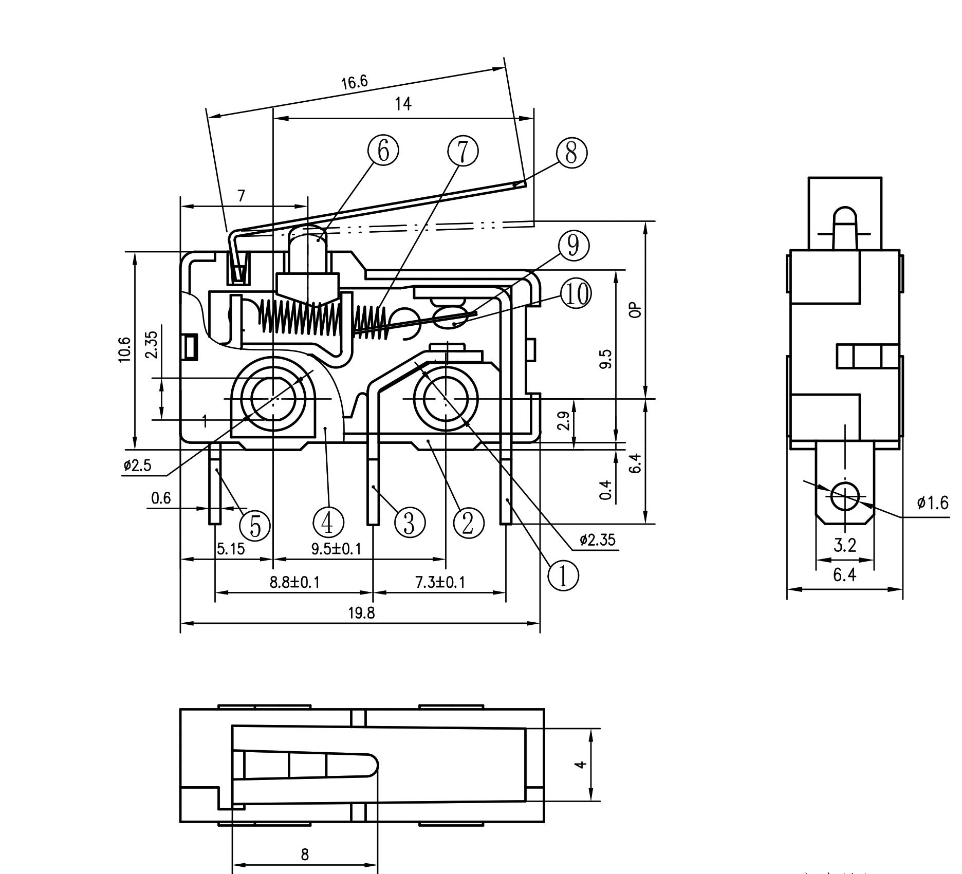 kw4a s -fzsw3f150-08 glod plated mini switch